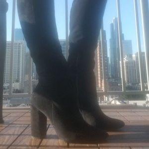 Aldo - knee high, suede, high heel boots size 8